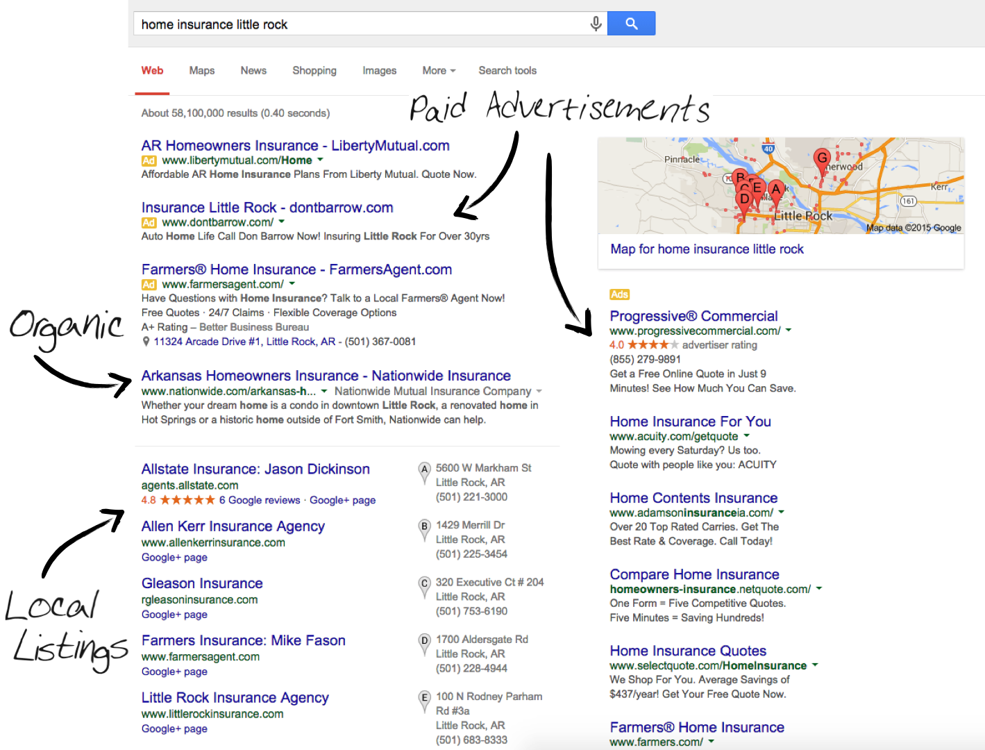 Examples of paid ads on google local search