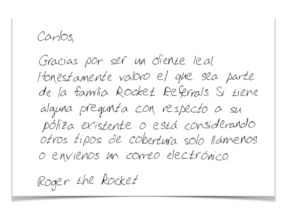 example of a spanish language handwritten card