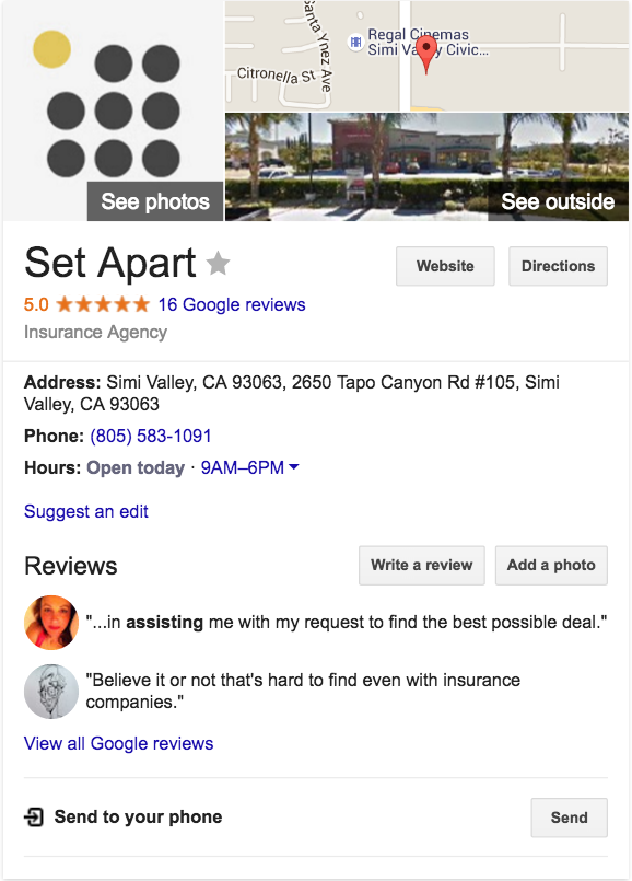 example of a google my business profile with reviews