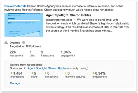 Rocket Referrals sponsored update LinkedIn