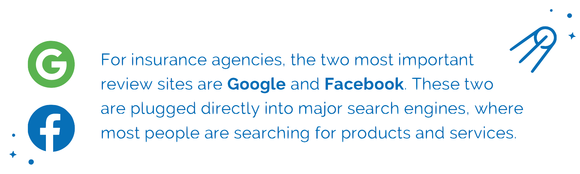 The two most important review sites for insurance agents are Google and Facebook
