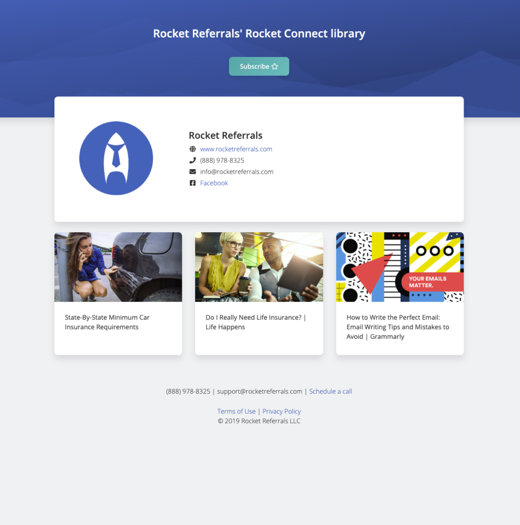 Example of what a Rocket Connect shared library looks like. Subscribe to other people's libraries for ideas for touchpoints.