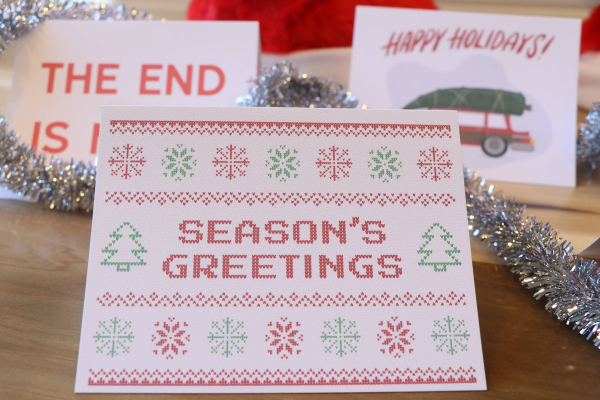 Ugly sweater handwritten holiday-card