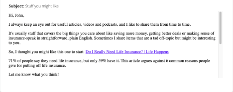 Email example for insurance marketing