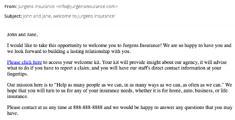 Welcome email example for insurance marketing