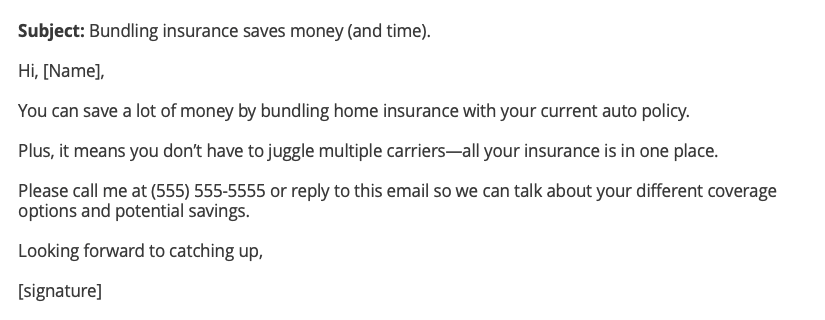 auto no home insurance cross-sell email example