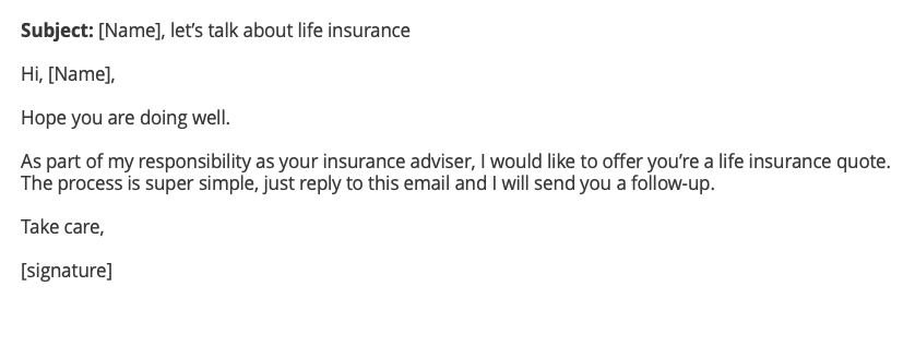 Life insurance cross-sell email example