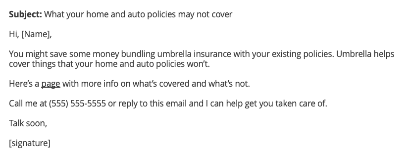 Umbrella insurance cross-sell email example