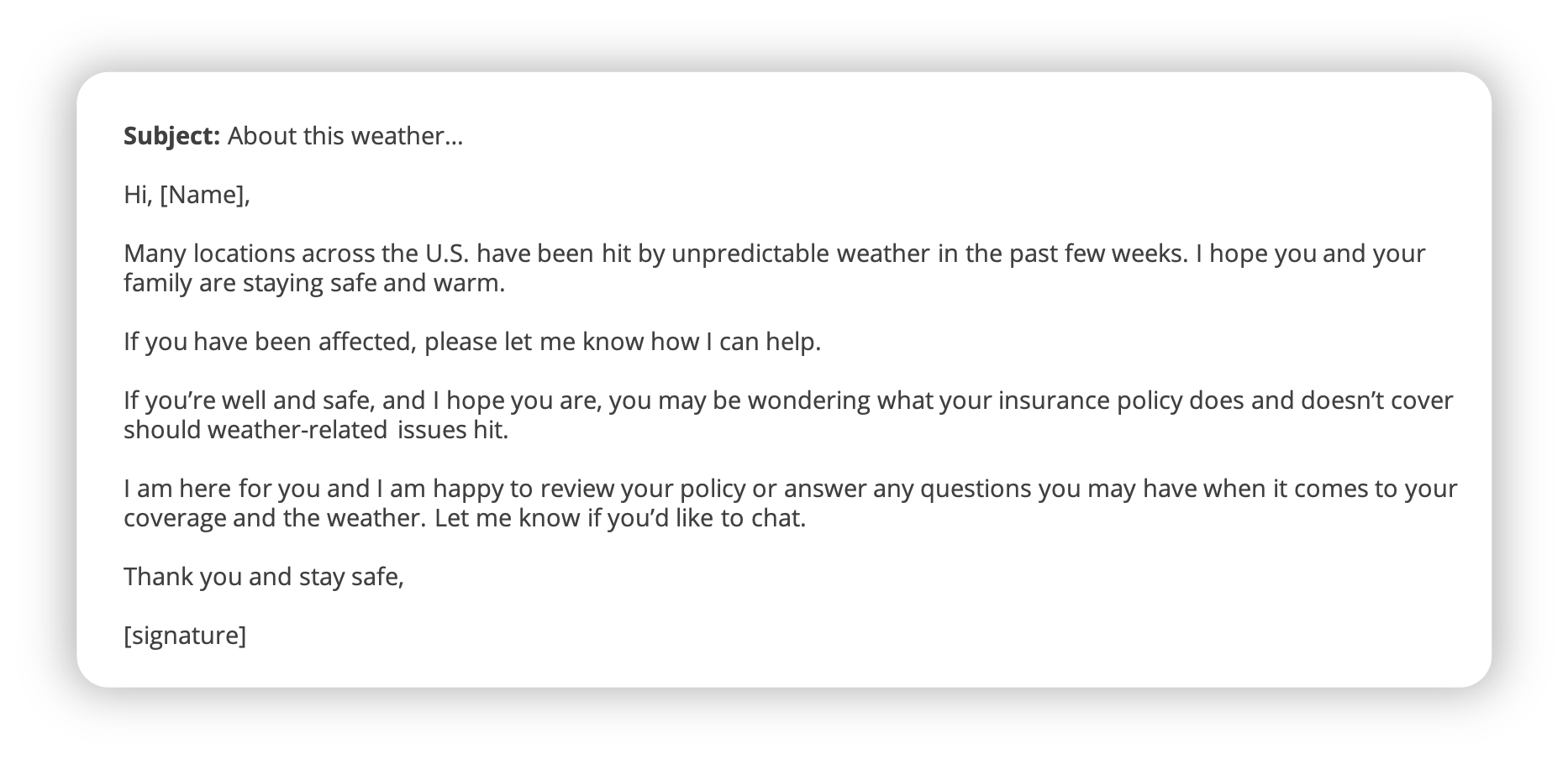 Weather event email template