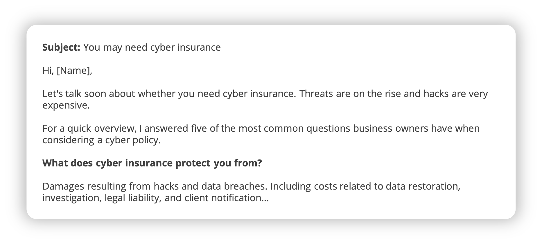 cyber liability insurance cross-sell email template