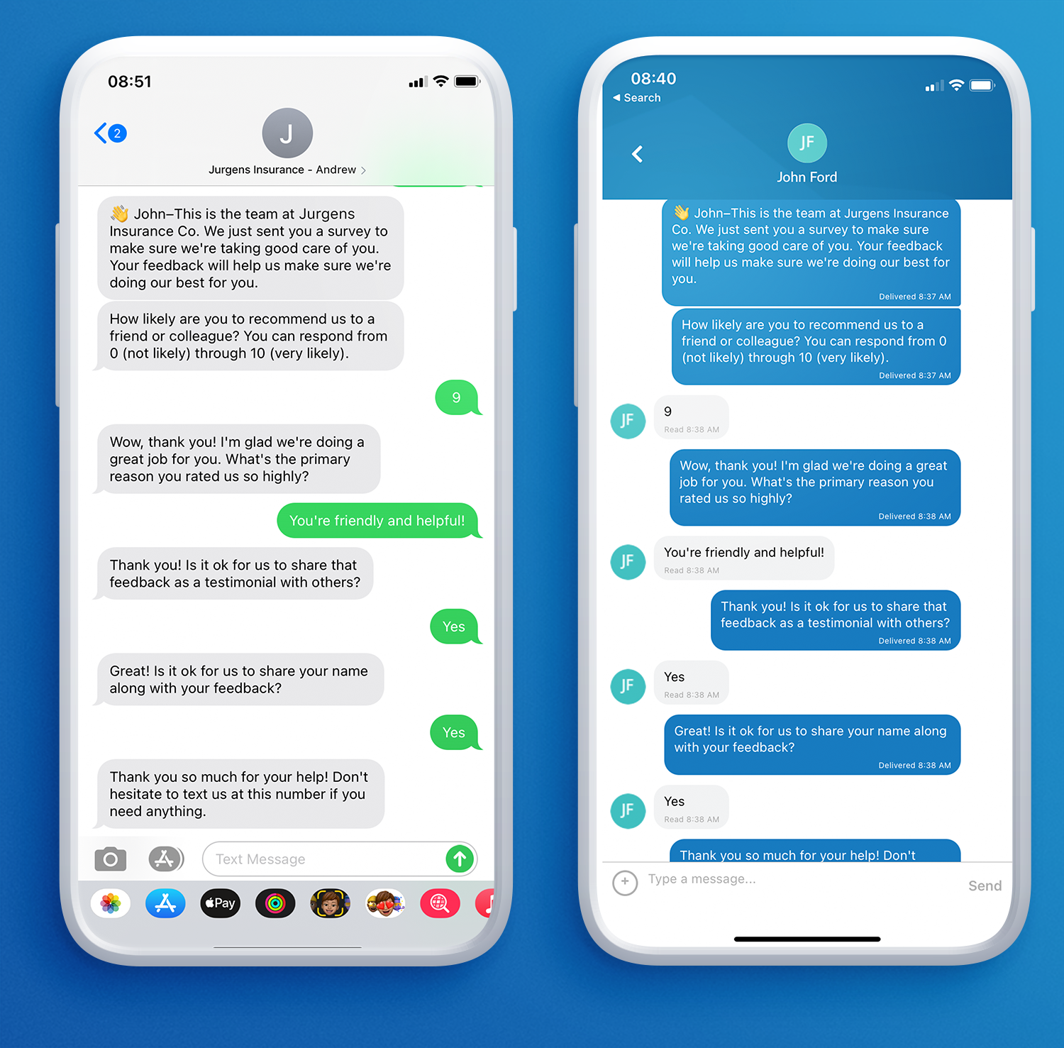 Collecting insurance client surveys with text messaging