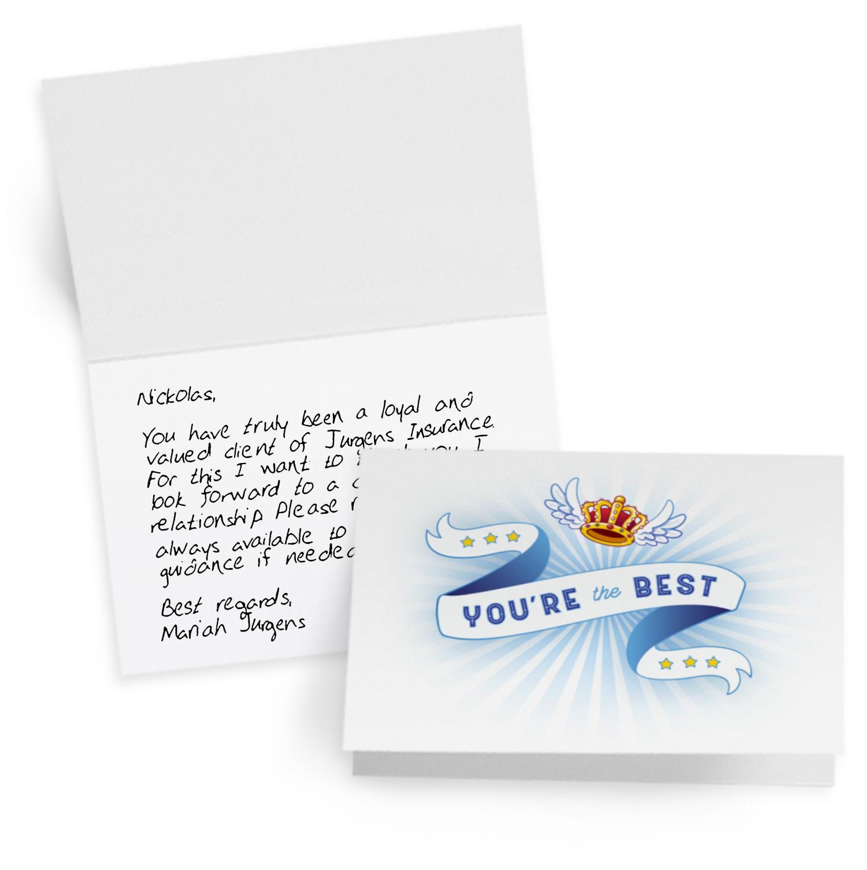 Handwritten loyalty card for insurance agents