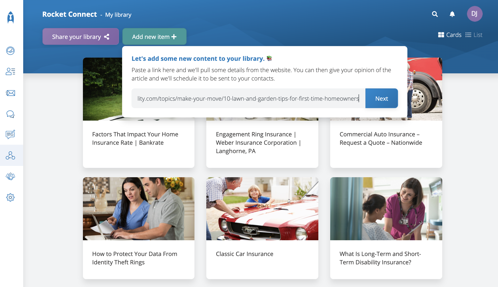 Example of content library for insurance