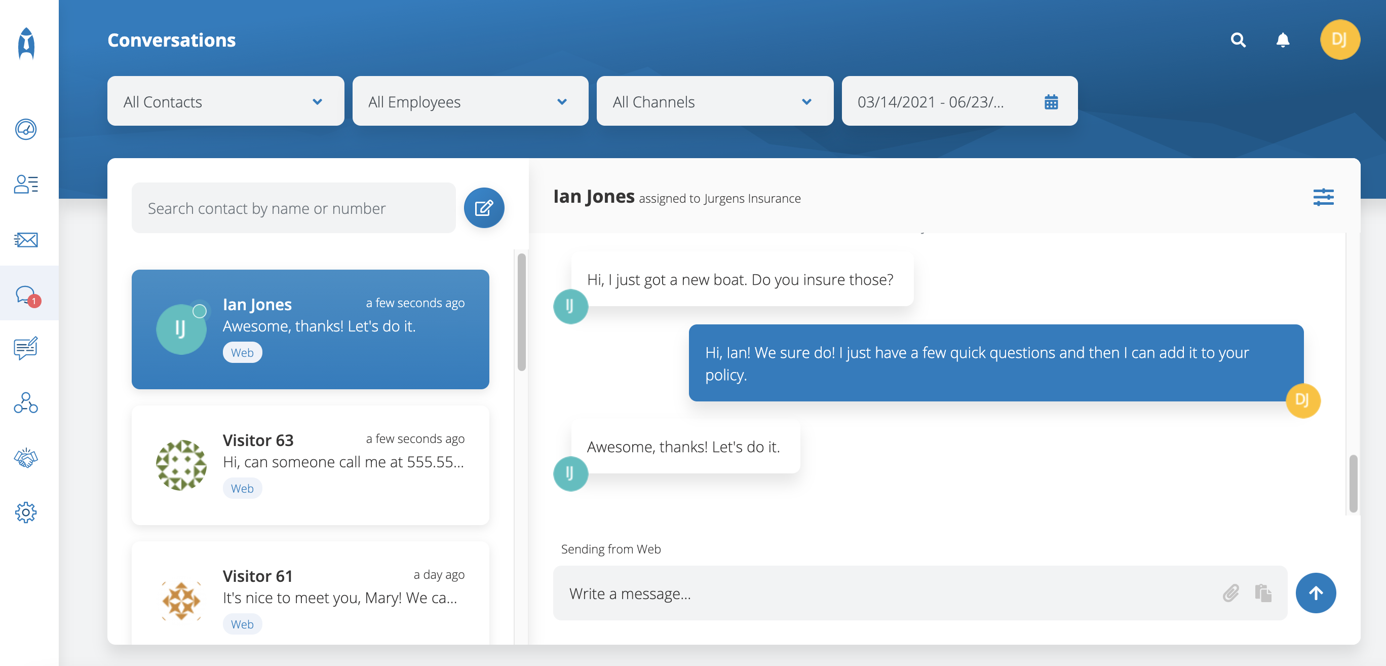 chat with insurance clients example