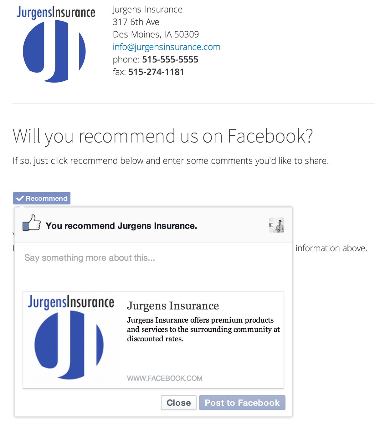 Demonstrates how a customer can recommend an agency on Facebook.